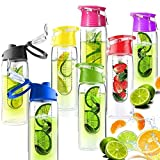 Babz Fruit Infusion Water Bottle with Fruit Infuser Aqua Hydration Sports Fusion Bottle - 7 Colours (Pink)
