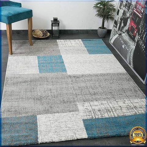 Tapis 160 X 160 Blanc - Designer Tapis poils courts en turquoise bleu,