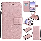 For Huawei Ascend P7 Case [Rose Gold],Cozy Hut [Wallet Case] Magnetic Flip Book Style Cover Case ,High Quality Classic New design Sunflower Pattern Design Premium PU Leather Folding Wallet Case With [Lanyard Strap] and [Credit Card Slots] Stand Function Folio Protective Holder Perfect Fit For Huawei Ascend P7 (5,0 Inch) - Rose gold