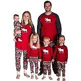 Ropa para Padres e Hijos Conjuntos de Ropa Familiar a Juego de Navidad Patrón de Renos de Feliz Navidad Camiseta de Manga Pan