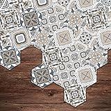 Yongqiang Hexagon Bodenaufkleber Wandaufkleber Fliesenaufkleber, Fliesen Stil, Badezimmer Küche Wasserdicht Fliesenkleber Aufkleber, Verschleißfest Einfach Zu Säubern