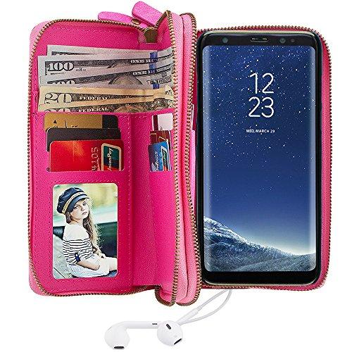 """Preisvergleich Produktbild Samsung Galaxy S8 Plus 6.2"""" Leder Hülle Flip Case Handytasche und Brieftasche mit Standfunktion Kredit Karten Fach mit Unsichtbarem Magnet, Pink"""
