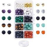 PandaHall Elite 200 Pezzi Perline di Pietre e 100 Pezzi Perline di Metallo con Filo Elastico e 1 Pezzi Ago in Ferro per Fare