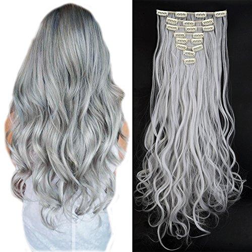60cm clip extension capelli mossi grigi synthetic hair lunghi 140g full head a 8 fasce con 18 clips - grigio argento