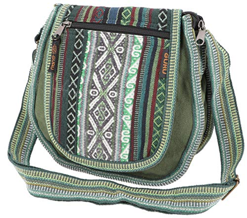 Guru-Shop Ethno Schultertasche, Boho Tasche - Olivgrün, Herren/Damen, Baumwolle, Size:One Size, 26x26x7 cm, Alternative Umhängetasche, Handtasche aus Stoff