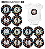 Monthly Baby Stickers by Months In Motion   12 Month Milestone Sticker for Newborn Babies Boy Outerspace Planets (Style 1151)