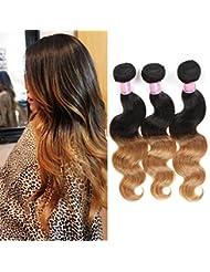 Body Wave 3trames de cheveux brésiliens Extensions de cheveux humains 1B # Couleur naturelle Lot de 335,6cm...
