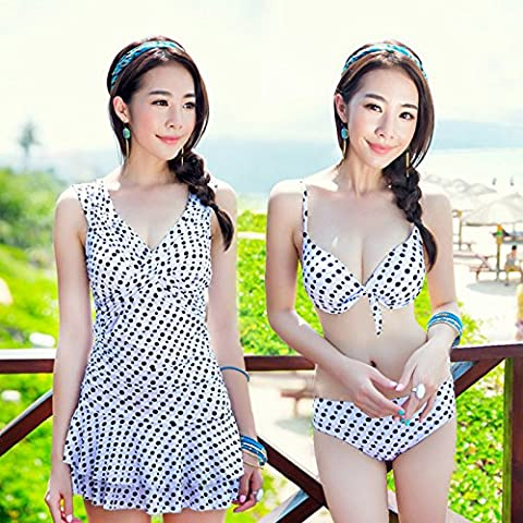 ZHANGYONG*3 piece set swimsuit female bikini small scoops large particles of hot springs chest split video thin swimsuit ,L, black and white wave point