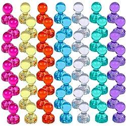 EudoER 56 Aimants Punaises Magnétiques de 7 Couleurs Aimants puissants pour Le Frigo Le Tableau Blanc Réfrigérateurs