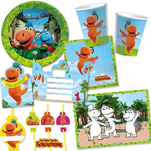 108-tlg Party-Set * DER KLEINE DRACHE KOKOSNUSS * für Kindergeburtstag mit Teller + Becher + Trinkhalme + Servietten + Einladungen + Tischsets + Luftschlangen + Luftballons, u.v.m.