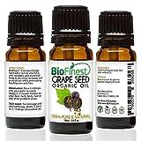 biofinest Traubenkern Bio Öl für Haar, Gesicht und Haut–100% reinen, natürlichen, kalt gepresst, Bio zertifiziert, Anti-Aging, Anti Feuchtigkeitsspender–GRATIS E-Book