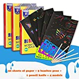 50 Sheets Magic Scratch Art Painting Paper With Drawing Stick Kids Toy(A4 18.5cm* 26cm)