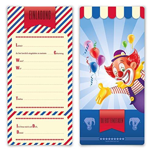 Einladungskarten Kindergeburtstag Jungen Mädchen 8 Stück Karten - Zirkus Clown Ticket (Zirkus-party-einladungen)