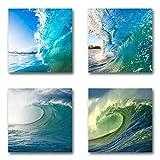 Surfen - Set A schwebend, 4-teiliges Bilder-Set je Teil 29x29cm, Seidenmatte moderne Optik auf Forex, UV-stabil, wasserfest, Kunstdruck für Büro, Wohnzimmer, XXL Deko Bild