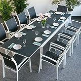 Violet Tisch mit 10 Georgia Stühlen - WEIß & GRAU | großer ausziehbarer Esstisch 300cm