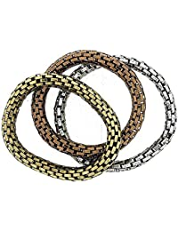 The Olivia Collection Maximum Metal 8mm Elasticated Stretch Bracelet 3 Pack