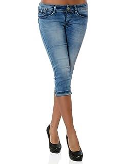 Damen Capri Jeanshose Kurze Sommerhose Push-Up Stretch DA 15547