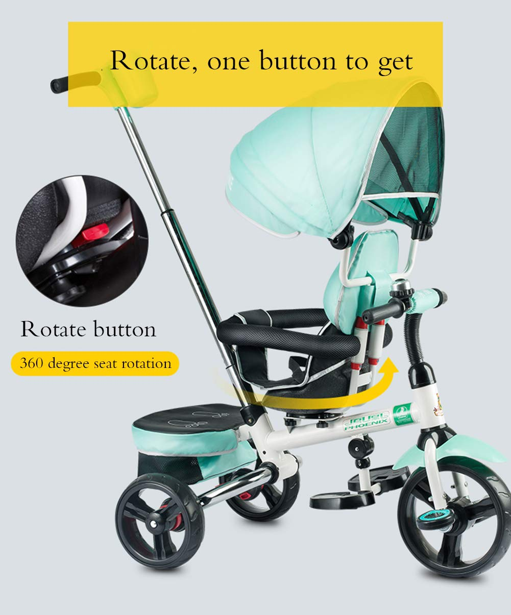 Triciclo Per Bambini, Bilanciere Per Bambini Con Sedile Reversibile a 360 ° Ruota In Gomma Per Copertura Antipioggia Barra Di Protezione In Metallo Adatta Per Bambini e Ragazzi Dai 2 Ai 5 Anni Giocatt YYY ✅ 4-in-1 multi-function: for steering three-wheeled baby bicycle, thicker push rod PLUS steering system, more flexible seat, 360-degree swivel chair, wide body and awning can be adjusted to the third gear. As the child grows, the tricycle can Adjust to the fourth level. ✅ Durable material: This thrust tricycle is made of high-quality carbon steel, with excellent strength, light resistance and anti-flaking adjustable awning. Encrypted Oxford cloth can block harmful UV. Mesh ventilation SUV is as comfortable as driver's seat. ✅Safe design: high back support stable three-way frame three-point seat belt and foam covered guardrail to prevent the hollow wheel from sliding or excessive tilting to prevent clamping feet. The rear wheel adopts double brake system and is equipped with high-density titanium empty wheel explosion-proof 2