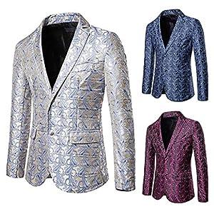 Pingtr Anzugjacken, Männer kleiden beiläufige Männer Jacke Helle Elegante Männer Anzug Slim Fit Mantel Einreiher…