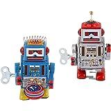 2 Piezas Juguete de Hojalata de Cuerda Modelo Robot Rojo/Azul Juego de Diversión Regalo de Broma para Niños