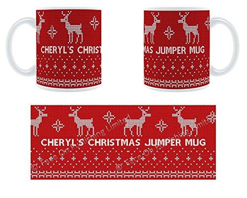 Cheryl'Damen-Pullover mit Rentier-Design, Becher, Tasse, Keramik -