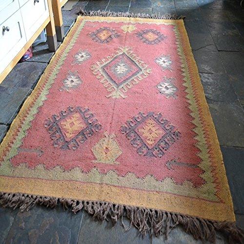 Rost Senf Rustikal Kelim handgeknotet Wolle mit Jute Teppich 120x 180cm -