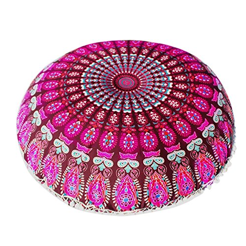 Dicomi Indische Mandala-Kissen Weich Bequem Kissenbezug Runde Böhmische Kissen Kissenbezug (43 X 43 cm)