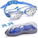 POAO Schwimmbrille Erwachsene, Schwimmbrille UV Schutz Antibeschlag mit Einteiligem Ohrstöpsel 3 Nasenstege PC Tragehülle für Triathlon Freiwasser Pool
