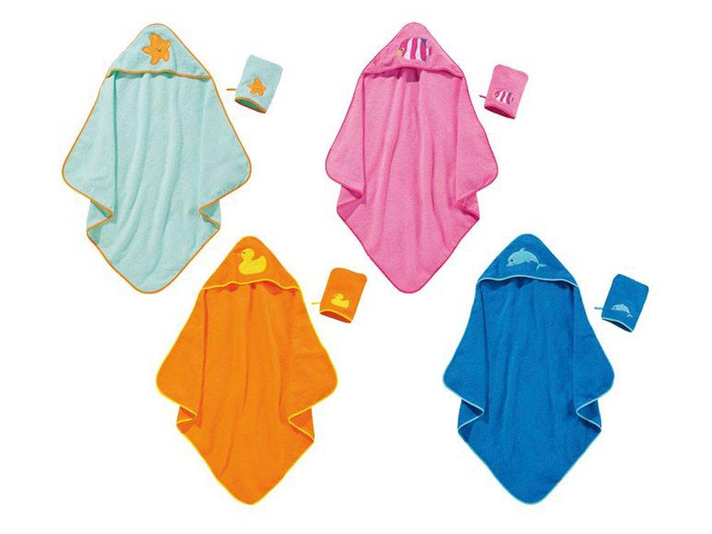 Kleinkinder Kapuzentuch mit Waschhandschuh (Blau)