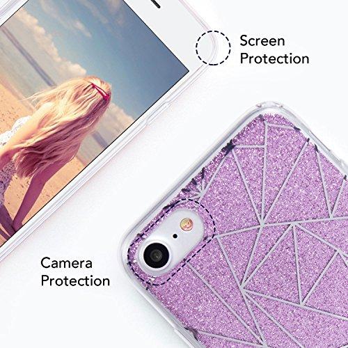 "iPhone 7 Hülle(4.7""), Imikoko® Luxus Bling Glitzer Electroplating Dreieck Muster Mit TPU Bumper Hardcase Schutzhülle Hülle Handyhülle Tasche Etui Case Für iPhone 7(Lila) Lila"