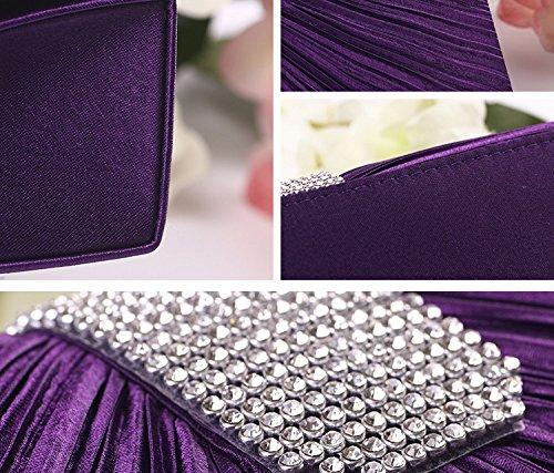 Strass-Dekor Plissee Frontgestaltung Braut Abendtasche Umhängetasche Silber