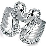 Crystal gemstone silver swan designer bangle