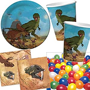 Kit de 37pièces pour fête d'enfants avec assiettes en carton, gobelets en carton et serviettes, décoration pour anniversaire d'enfants ou fête d'enfants à thème – Vaisselle jetable en carton – Motif tyrannosaure et tricératops