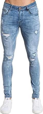 PIZOFF Uomo Hip Hop Baggy Harem Skull Stampa Ricamo Denim Jeans
