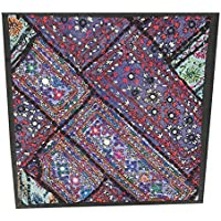 "Mogul Interior Indian Pillow Sham Kutch Embroidered Purple Patchwork Tapestry 18"" X 18"""