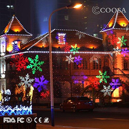 Lumière LED COOSA Projecteur de Lumiere étanche pour décoration extérieures - Noël/Halloween/Soirée/Anniversaire/Bar/jardin/Mariage (10 Motifs Dynamique - Multicouleur)