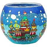 HIM Moscow - Portavelas candelabros de cristal, 9 x 11 cm, color multicolor