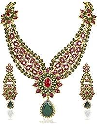 JewelMaze Gold Plated Zinc Alloy Green And Pink Austrian Stone Necklace Set-DAA0019
