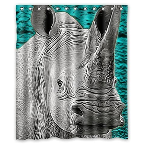Funny Rhino Shower Curtain - Fashion Rhino Bathroom Shower Curtains Polyester Waterproof 60 Wide x 72 High