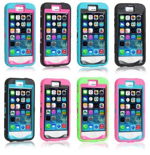 iPhone 5S Fall, iPhone 5 Fall, Lantier 3 in 1 stoßabsorbierendes Fall, Gummi Combo hybride Auswirkung-Silikon-Rüstungs-Hard Case mit Ständer für Apple iPhone 5 / 5S / 5G Schwarz-Schwarz Blue-Hot Pink