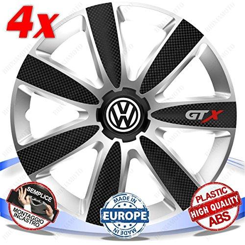 SET-4-BORCHIE-RUOTA-COPRI-CERCHI-GTX-BLACK-SILVER-16-UNIVERSALE-VW