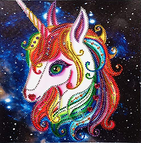 MXJSUA DIY 5D Special Shape Diamond Painting by Number Kit Crystal Rhinestone Round Drill Art Craft for Home Wall Decor 12X12In Colored Unicorn