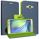 DMG Synthetic Leather Slim Wallet Flip Cover Case with Card Slots and Magnet Closure for Samsung Galaxy A7 (Old Model) (Pebble Blue)