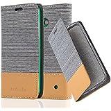 Cadorabo - Funda Estilo Book para Nokia Lumia 630 de Diseño Tela / Cuero Arificial con Tarjetero, Función de Suporte y Cierre Magnético Invisible - Etui Case Cover Carcasa Caja Protección en GRIS-CLARO-MARRÓN