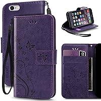 KUAWEI Coque iPhone 6 6S Etui Cuir iPhone 6 6S Cover Flip Cover avec Fonction Stand et Fentes de Carte de Crédit Flexible Souple TPU Coque Intérieure pour iPhone 6 6S (Violet)
