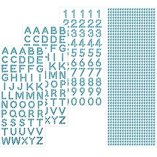 on Set Funkeln Alphabet Brief Aufkleber und Edelstein Grenze Aufkleber für Graduierung Deckel und Andere Kunsthandwerk (Blau) ()