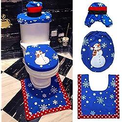 HuntGold 3 Stück / Set Weihnachten Schneemann WC Sitzbezug Teppich Badezimmer Matte Weihnachtsdeko Blau