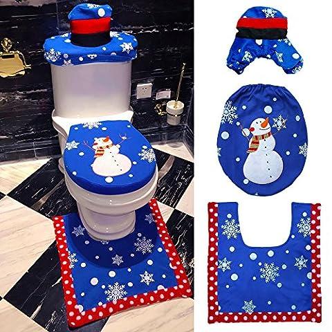 GGG 3Pcs / Set de Noël bleu bonhomme de neige + siège de toilette + tapis de bain +Tapis Décor de Noël