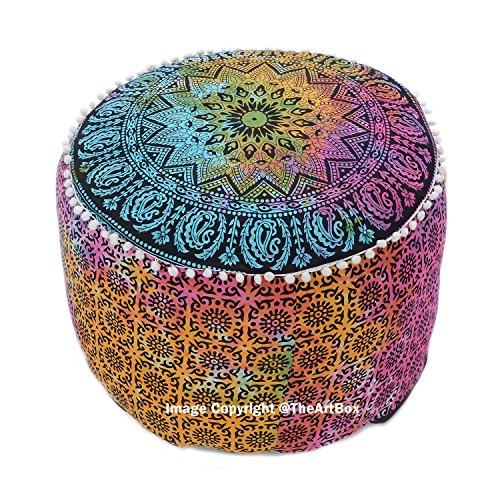 Die Kunst Box indischen Mandala Dekorative osmanischen Pouf Fußhocker rund Boden Pouf Platz Pouf...
