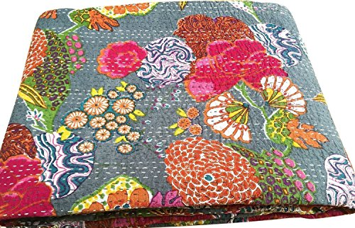 Pushpacrafts GREY KANTHA FLORAL PRINTED QUEEN SIZE (90×108) INCHES GUDARI BEDSPREAD RALLI COTTON HANDMADE MULTICOLOR BEDCOVER QUILT BEDDING FLORAL PRINT
